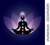 female body in yoga assana with ...   Shutterstock .eps vector #1021042654