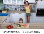 frightened mother realizes that ... | Shutterstock . vector #1021045087