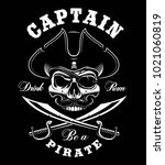 vintage pirate skull on dark... | Shutterstock . vector #1021060819