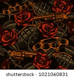 tattoo seamless background with ... | Shutterstock . vector #1021060831