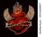 tattoo heart with flame and... | Shutterstock . vector #1021060837