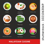 big set of malaysian food.... | Shutterstock .eps vector #1021063069