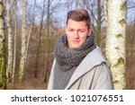 portrait of handsome blond man... | Shutterstock . vector #1021076551