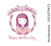 happy mothers day card | Shutterstock .eps vector #1021079671
