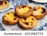egg tart  traditional... | Shutterstock . vector #1021082725