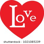 red heart with love text   Shutterstock .eps vector #1021085239