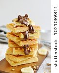 homemade belgian waffles with... | Shutterstock . vector #1021089811