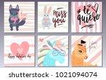 valentines day postcards set...   Shutterstock .eps vector #1021094074