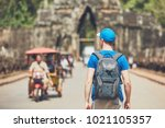 tourist in the ancient city.... | Shutterstock . vector #1021105357