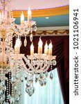close up the crystal chandelier ... | Shutterstock . vector #1021106941