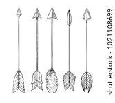 tribal indian arrow set. ethnic ... | Shutterstock . vector #1021108699