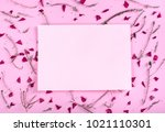 floral pattern and empty... | Shutterstock . vector #1021110301