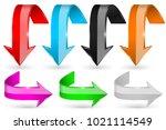 colored shiny 3d arrows. vector ... | Shutterstock .eps vector #1021114549