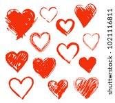 vector hearts set. hands drawn. | Shutterstock .eps vector #1021116811