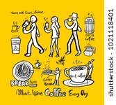 cafe poster   sketchy coffee... | Shutterstock .eps vector #1021118401