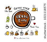 cafe poster   sketchy coffee... | Shutterstock .eps vector #1021118575