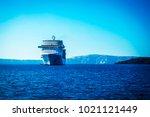 dark blue water and cruise liner   Shutterstock . vector #1021121449
