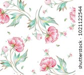 seamless peony pattern with...   Shutterstock . vector #1021122544