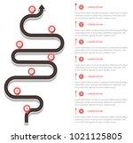 winding asphalt road way with... | Shutterstock .eps vector #1021125805
