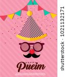 purim   holiday purim with... | Shutterstock .eps vector #1021132171