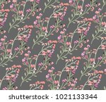wild flower on grey background | Shutterstock .eps vector #1021133344