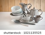 white bowl and spoon ceramic on ... | Shutterstock . vector #1021135525
