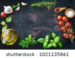 olive oil  tomatoes  garlic ... | Shutterstock . vector #1021135861