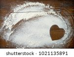 baking background with heart...   Shutterstock . vector #1021135891