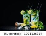 two glasses of mojito cocktail... | Shutterstock . vector #1021136314
