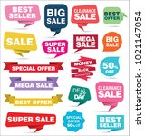 modern origami sale stickers... | Shutterstock .eps vector #1021147054
