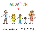 african adoption. family with... | Shutterstock .eps vector #1021151851