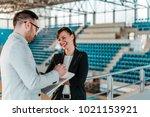 business people meeting in... | Shutterstock . vector #1021153921