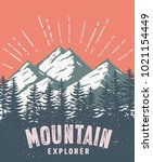mountain and landscape vector... | Shutterstock .eps vector #1021154449