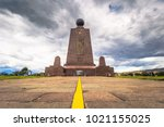 middle of the world monument in ... | Shutterstock . vector #1021155025