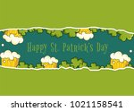happy patrick day vector banner ... | Shutterstock .eps vector #1021158541
