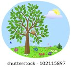 tree with birds and nest on the ...   Shutterstock .eps vector #102115897
