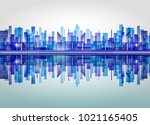 harbor and city at night with... | Shutterstock . vector #1021165405