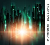 night city background  with... | Shutterstock . vector #1021165411