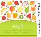tropical fruits banner  summer... | Shutterstock .eps vector #1021167469