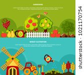 agriculture horizontal banners... | Shutterstock . vector #1021170754