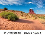 sand dunes at monument valley ... | Shutterstock . vector #1021171315