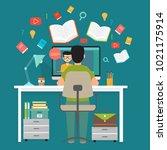 online education  distance... | Shutterstock .eps vector #1021175914