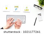blogger desk with social media... | Shutterstock . vector #1021177261