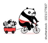 Cute Cartoon Panda Rides A...