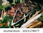 decorated catering wedding... | Shutterstock . vector #1021178077