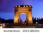 arc de triumph  church of... | Shutterstock . vector #1021180201