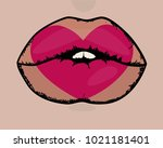 lips and heart. valentine's day....   Shutterstock .eps vector #1021181401