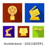 gold pistol  silver prize for... | Shutterstock .eps vector #1021183591