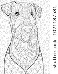 adult coloring page book a cute ... | Shutterstock .eps vector #1021187581