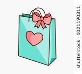 teal green doodle gift shopping ... | Shutterstock .eps vector #1021190311